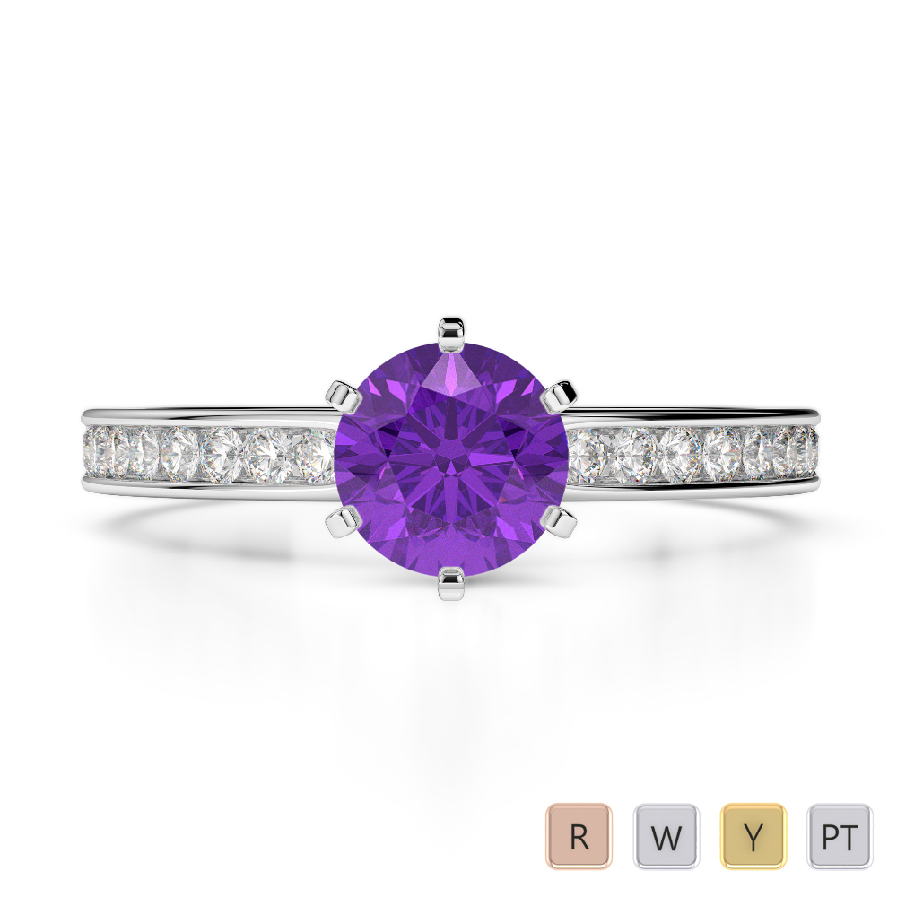 Gold / Platinum Round Cut Amethyst and Diamond Engagement Ring AGDR-1214