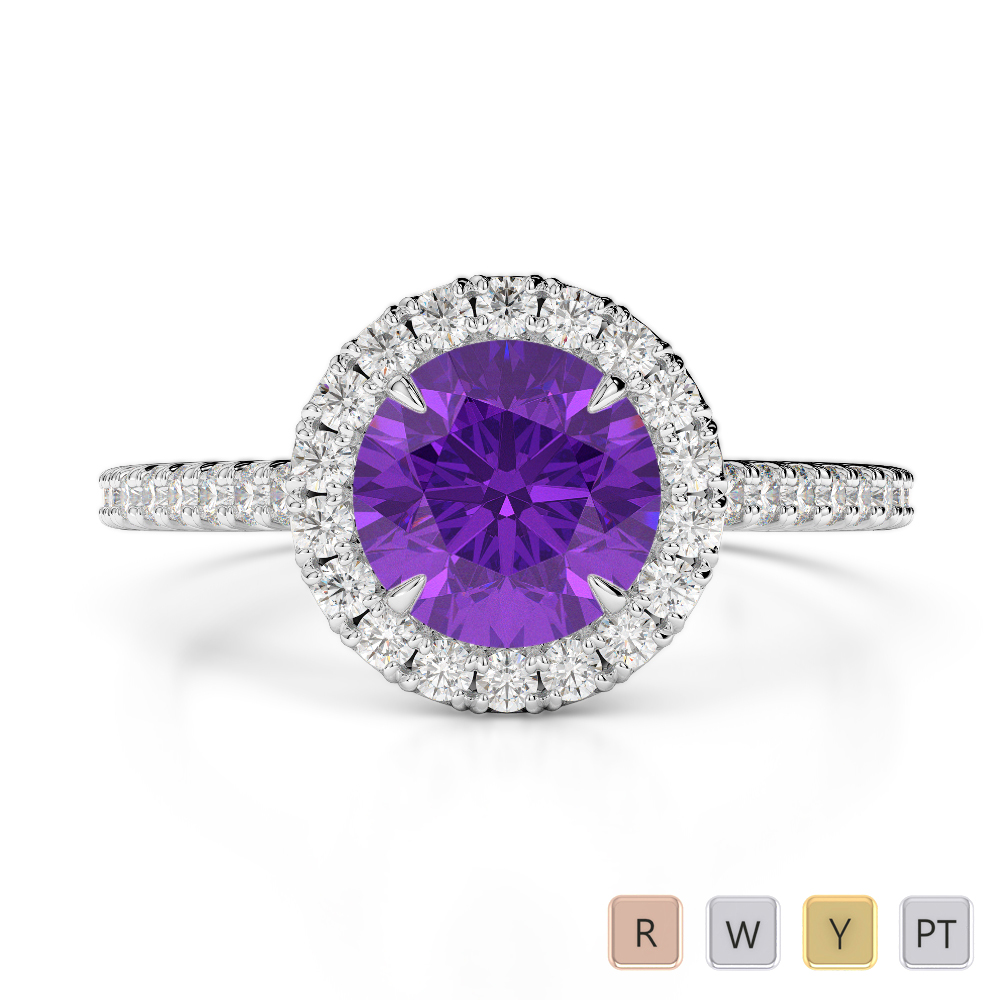 Gold / Platinum Round Cut Amethyst and Diamond Engagement Ring AGDR-1215