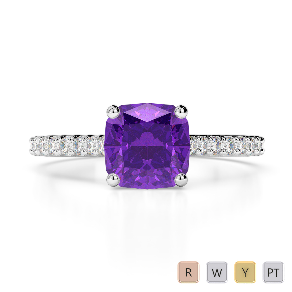 Gold / Platinum Round and Cushion Cut Amethyst and Diamond Engagement Ring AGDR-1216
