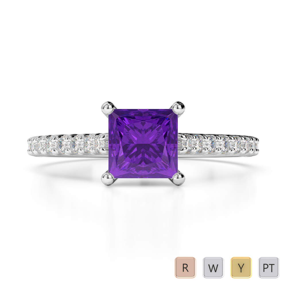 Gold / Platinum Round and Princess Cut Amethyst and Diamond Engagement Ring AGDR-1217