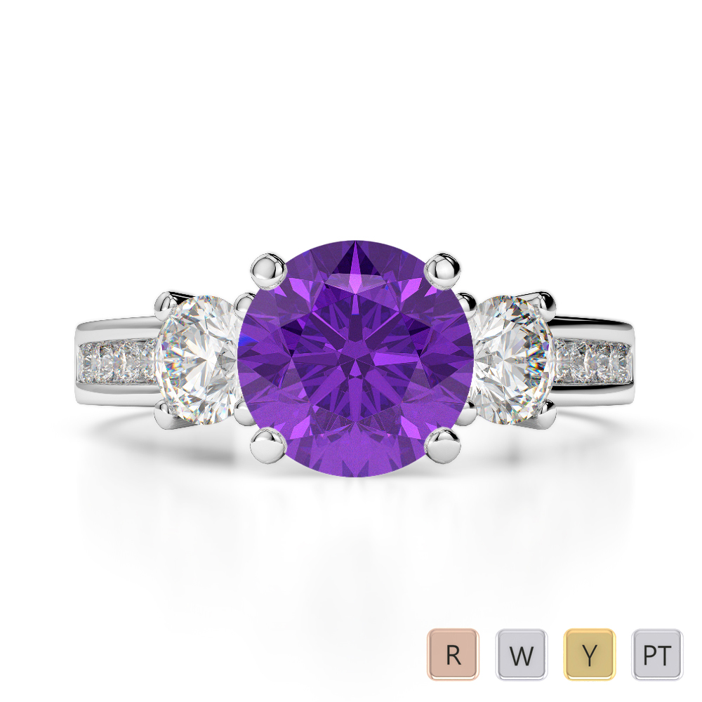 Gold / Platinum Round Cut Amethyst and Diamond Engagement Ring AGDR-1218