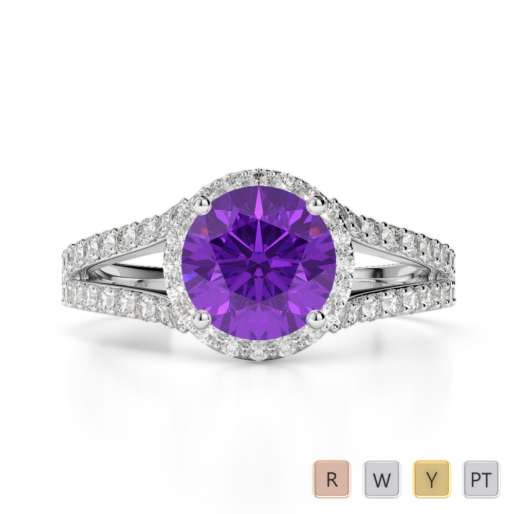 Gold / Platinum Round Cut Amethyst and Diamond Engagement Ring AGDR-1220