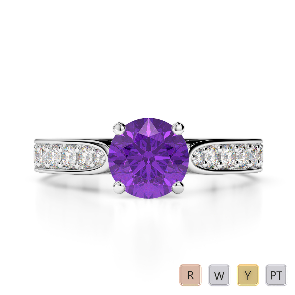 Gold / Platinum Round Cut Amethyst and Diamond Engagement Ring AGDR-1221