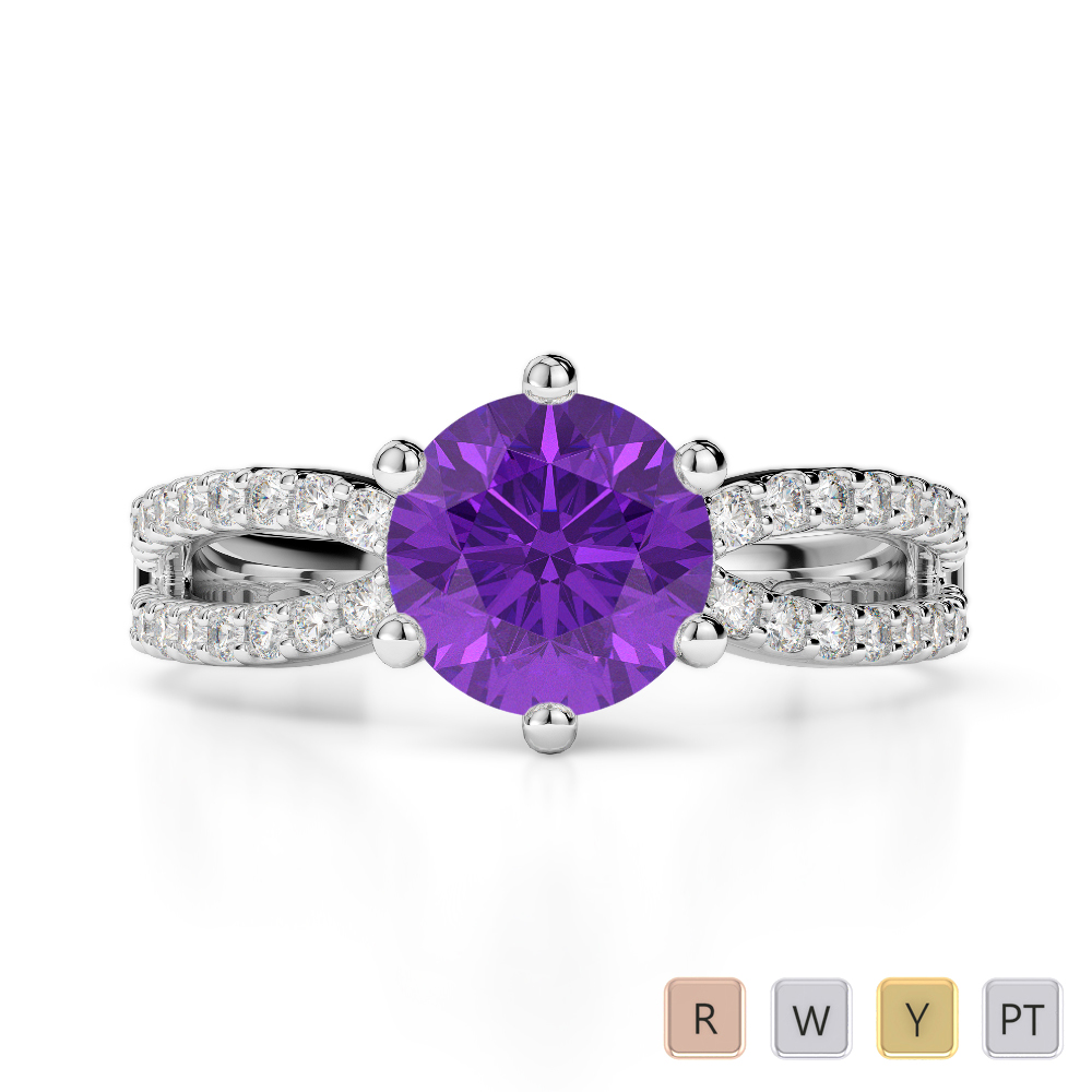 Gold / Platinum Round Cut Amethyst and Diamond Engagement Ring AGDR-1223