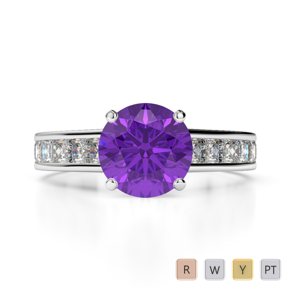 Gold / Platinum Round and Princess Cut Amethyst and Diamond Engagement Ring AGDR-1224