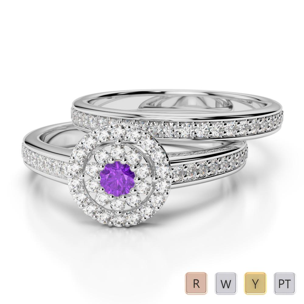 Gold / Platinum Round cut Amethyst and Diamond Bridal Set Ring AGDR-1239