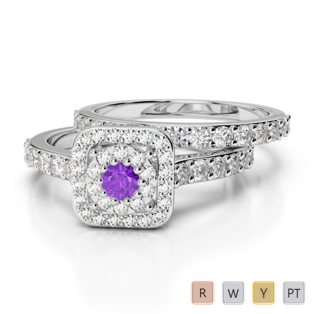 Gold / Platinum Round cut Amethyst and Diamond Bridal Set Ring AGDR-1246