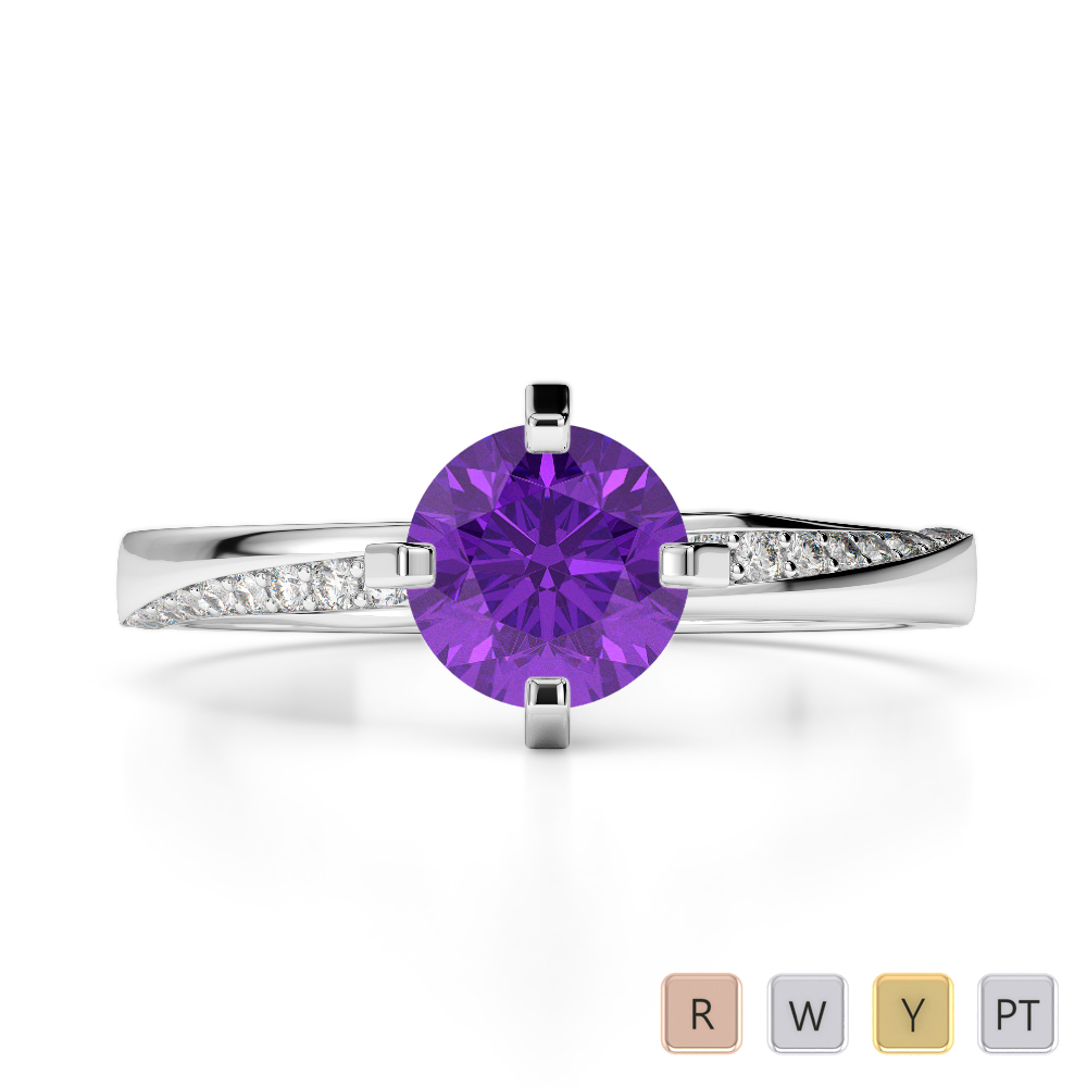 Gold / Platinum Round Cut Amethyst and Diamond Engagement Ring AGDR-2002