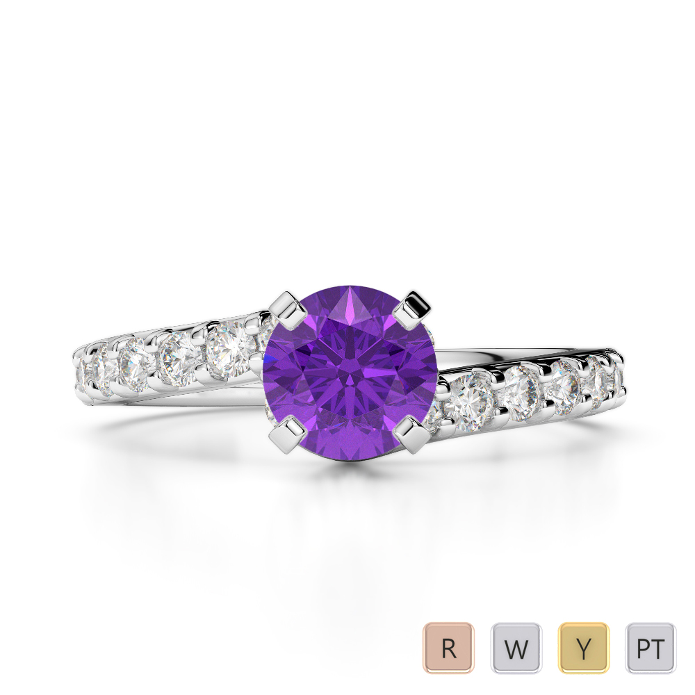 Gold / Platinum Round Cut Amethyst and Diamond Engagement Ring AGDR-2004