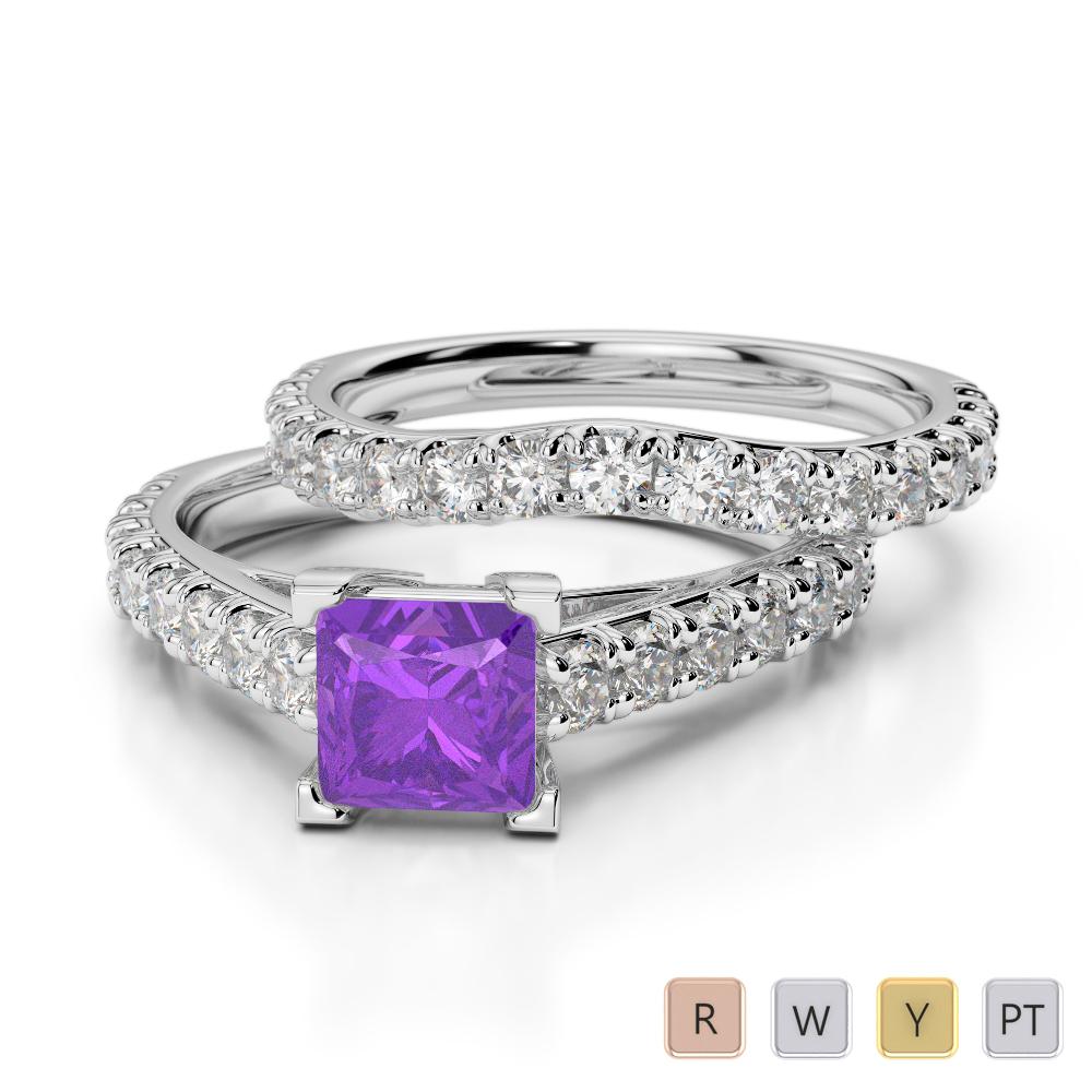 Gold / Platinum Round and Princess cut Amethyst and Diamond Bridal Set Ring AGDR-2007