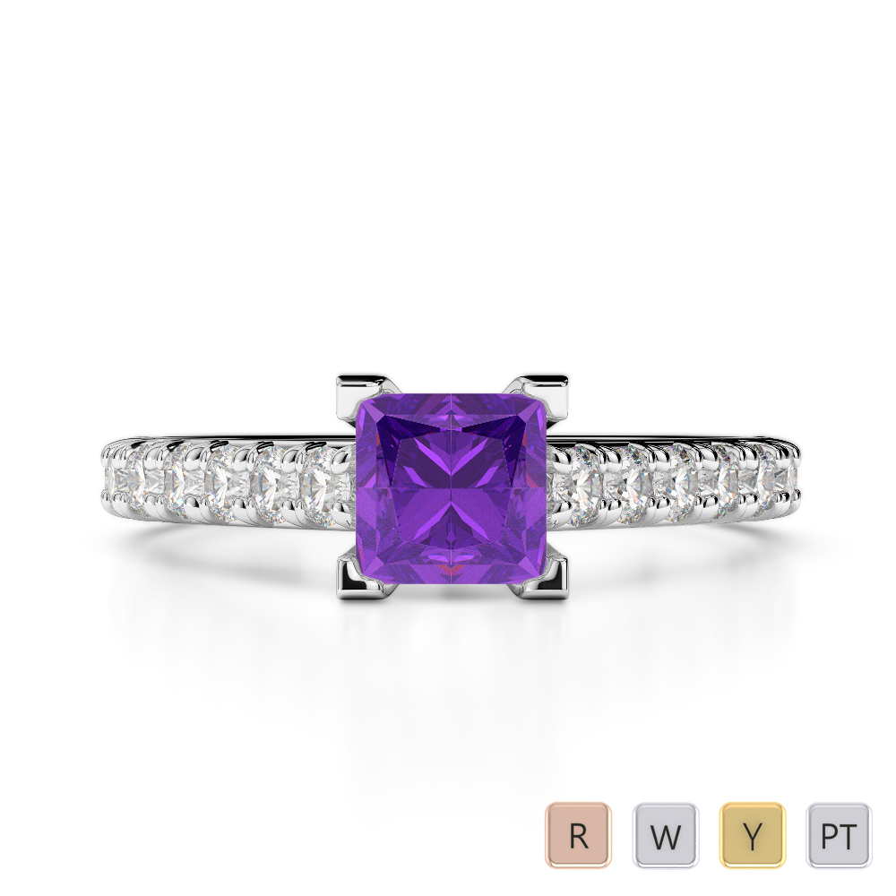 Gold / Platinum Round and Princess Cut Amethyst and Diamond Engagement Ring AGDR-2008