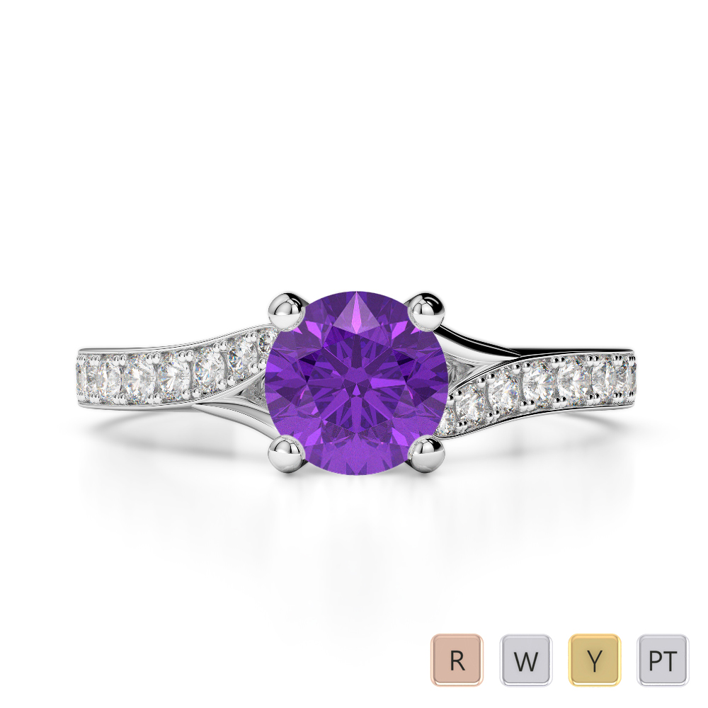 Gold / Platinum Round Cut Amethyst and Diamond Engagement Ring AGDR-2012
