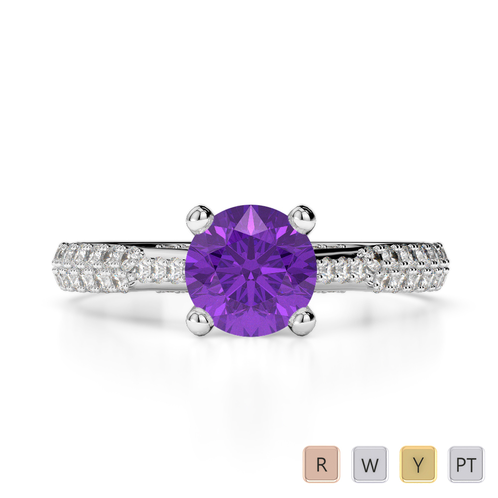 Gold / Platinum Round Cut Amethyst and Diamond Engagement Ring AGDR-2014