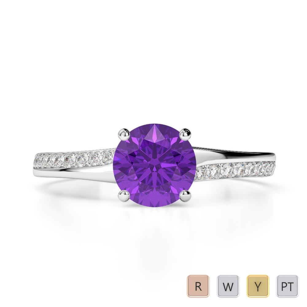 Gold / Platinum Round Cut Amethyst and Diamond Engagement Ring AGDR-2016