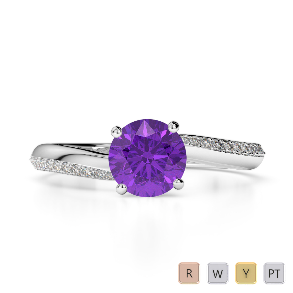 Gold / Platinum Round Cut Amethyst and Diamond Engagement Ring AGDR-2018