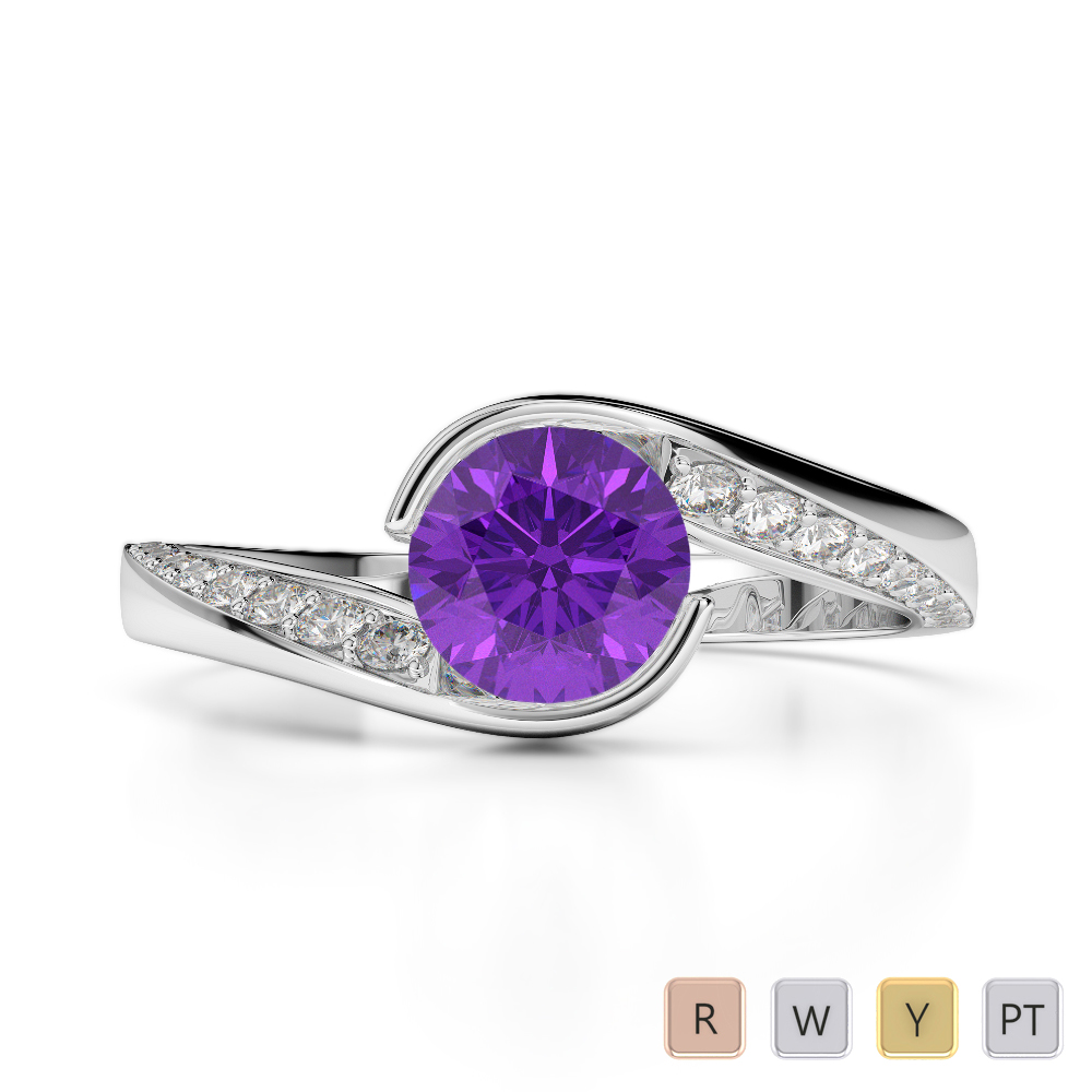 Gold / Platinum Round Cut Amethyst and Diamond Engagement Ring AGDR-2020