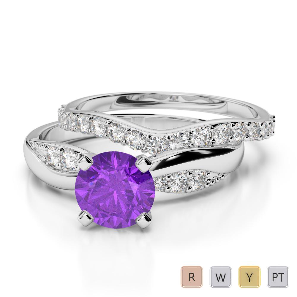 Gold / Platinum Round cut Amethyst and Diamond Bridal Set Ring AGDR-2023