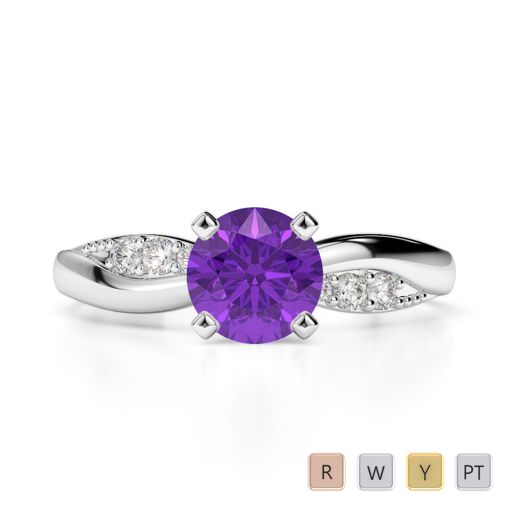Gold / Platinum Round Cut Amethyst and Diamond Engagement Ring AGDR-2024