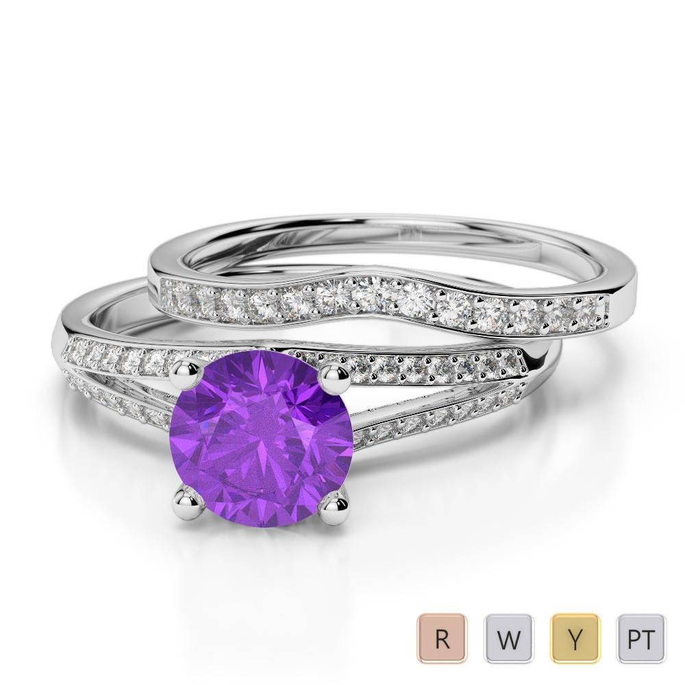 Gold / Platinum Round cut Amethyst and Diamond Bridal Set Ring AGDR-2037