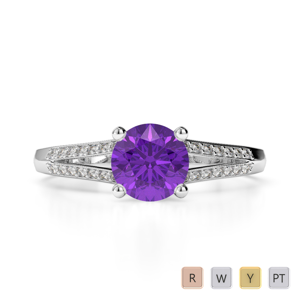 Gold / Platinum Round Cut Amethyst and Diamond Engagement Ring AGDR-2038