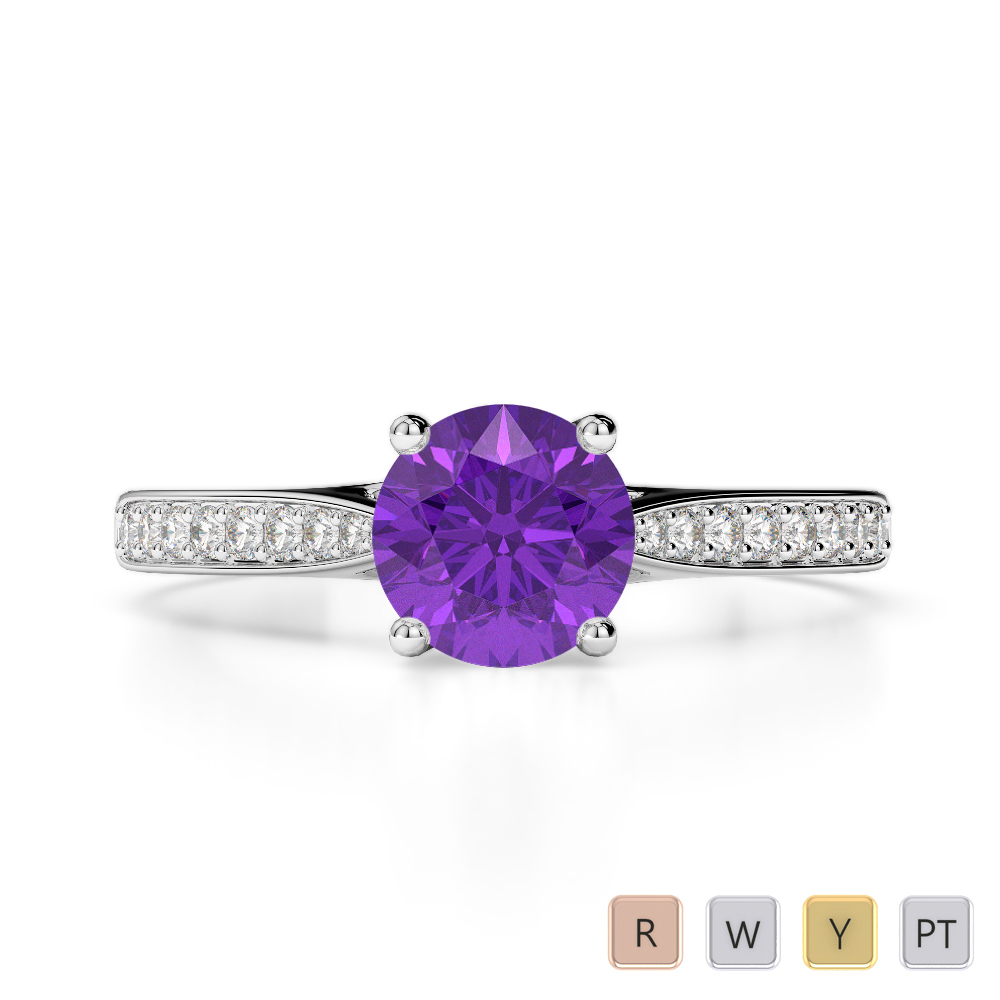 Gold / Platinum Round Cut Amethyst and Diamond Engagement Ring AGDR-2054