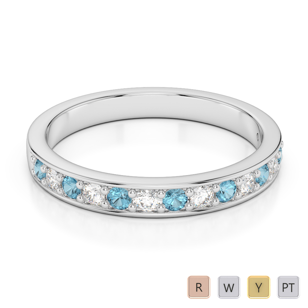 2.5 MM Gold / Platinum Round Cut Aquamarine and Diamond Half Eternity Ring AGDR-1083
