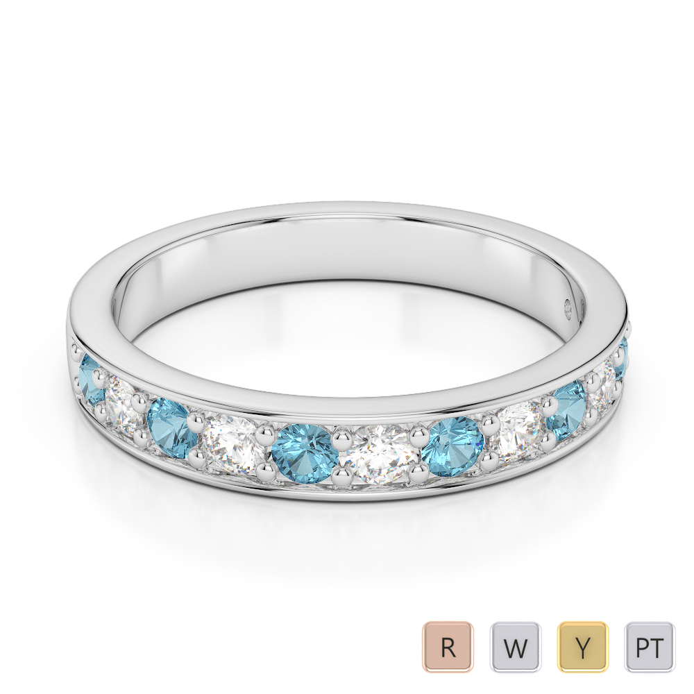 3 MM Gold / Platinum Round Cut Aquamarine and Diamond Half  Eternity Ring AGDR-1084
