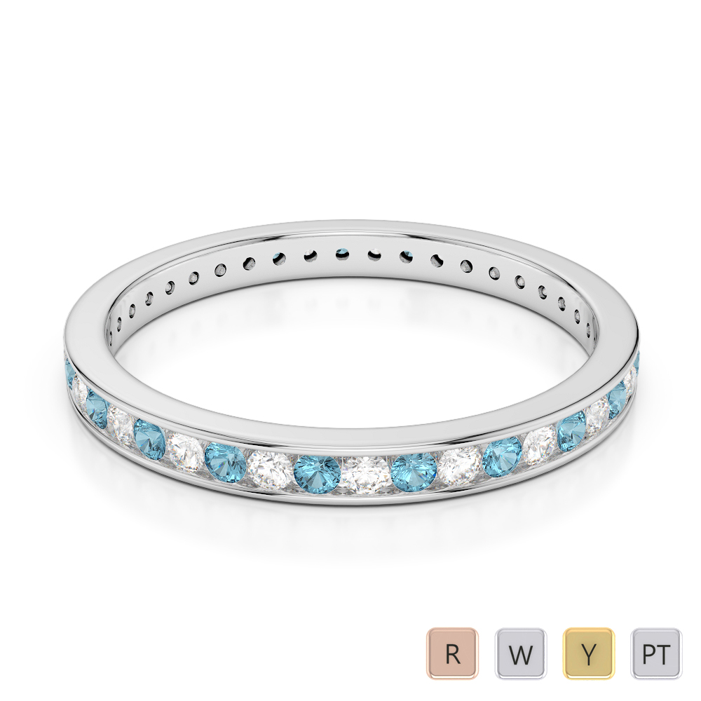 2.5 MM Gold / Platinum Round Cut Aquamarine and Diamond Full Eternity Ring AGDR-1086