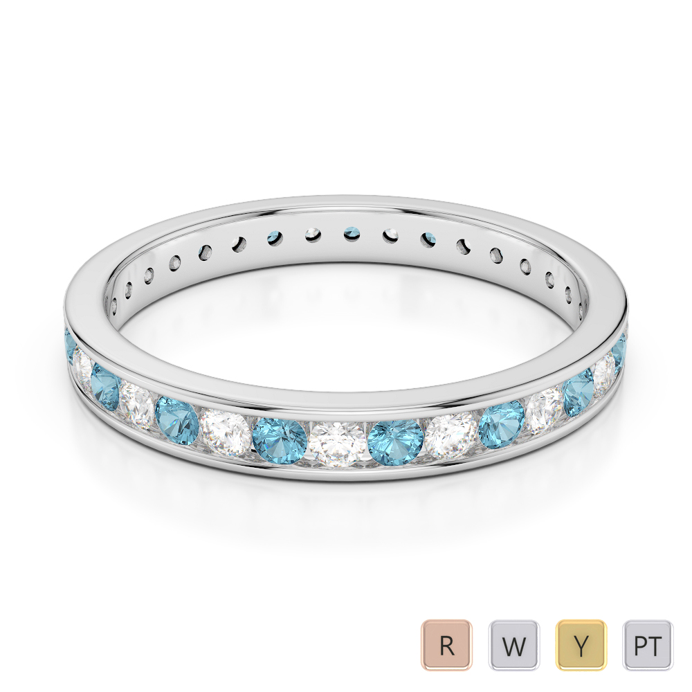3 MM Gold / Platinum Round Cut Aquamarine and Diamond Full Eternity Ring AGDR-1087