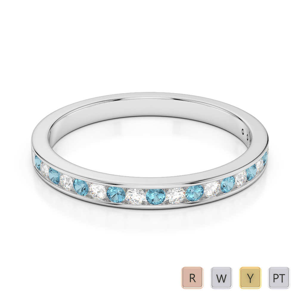 2.5 MM Gold / Platinum Round Cut Aquamarine and Diamond Half Eternity Ring AGDR-1089