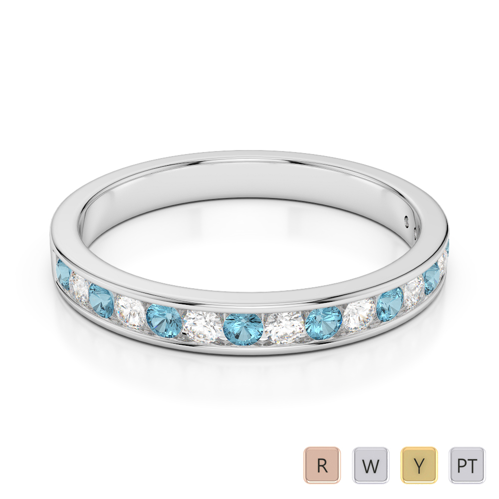 3 MM Gold / Platinum Round Cut Aquamarine and Diamond Half Eternity Ring AGDR-1090