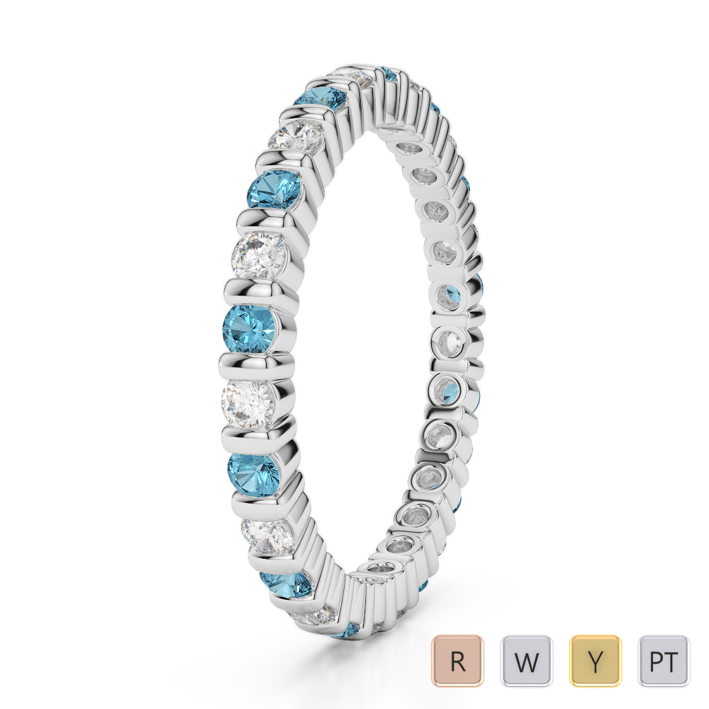 2 MM Gold / Platinum Round Cut Aquamarine and Diamond Full Eternity Ring AGDR-1092