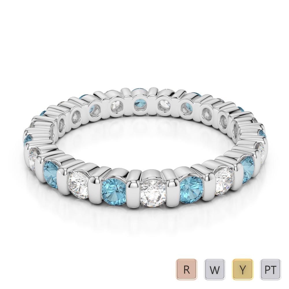 2.5 MM Gold / Platinum Round Cut Aquamarine and Diamond Full Eternity Ring AGDR-1093