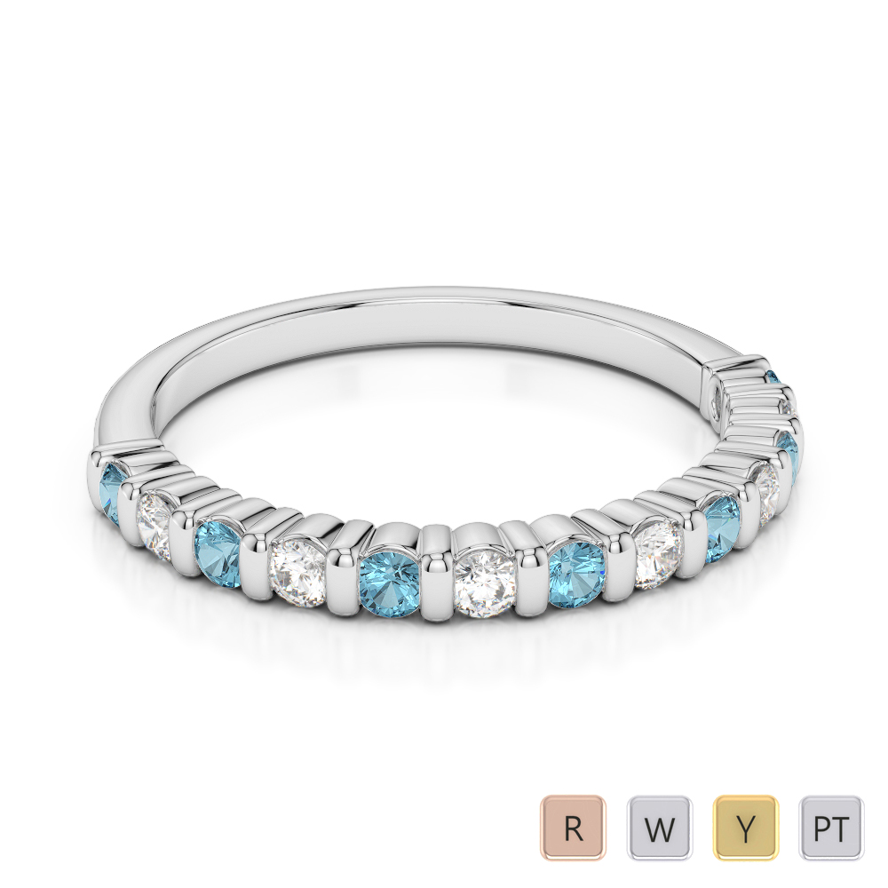 2 MM Gold / Platinum Round Cut Aquamarine and Diamond Half Eternity Ring AGDR-1095