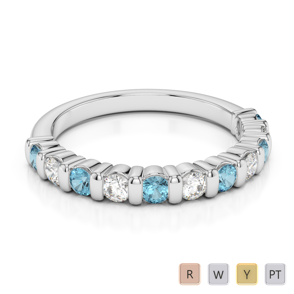 2.5 MM Gold / Platinum Round Cut Aquamarine and Diamond Half Eternity Ring AGDR-1096