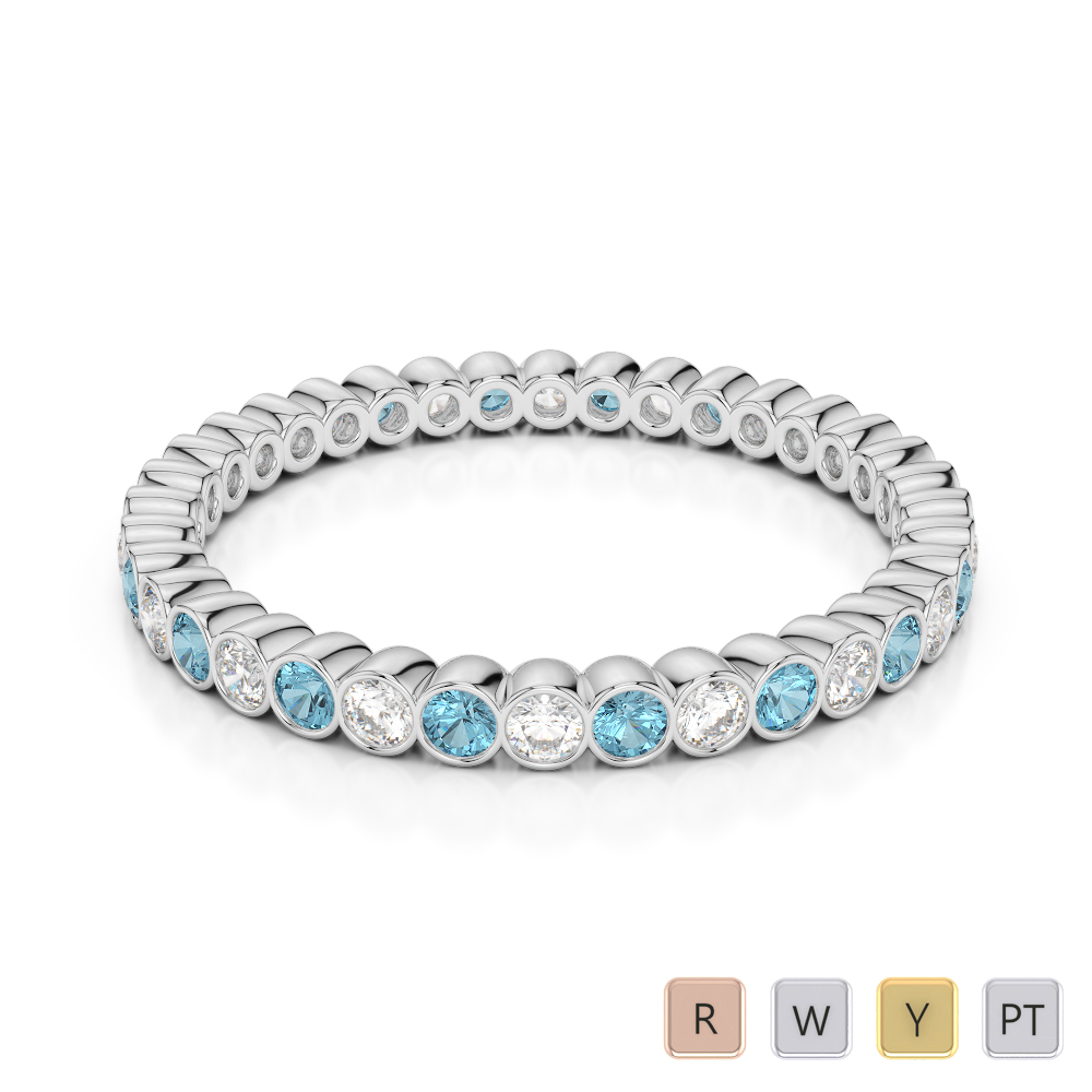 2 MM Gold / Platinum Round Cut Aquamarine and Diamond Full Eternity Ring AGDR-1098