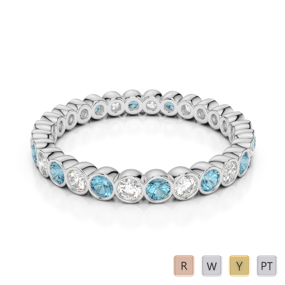 2.5 MM Gold / Platinum Round Cut Aquamarine and Diamond Full Eternity Ring AGDR-1099
