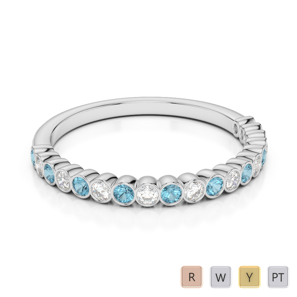 2 MM Gold / Platinum Round Cut Aquamarine and Diamond Half Eternity Ring AGDR-1101