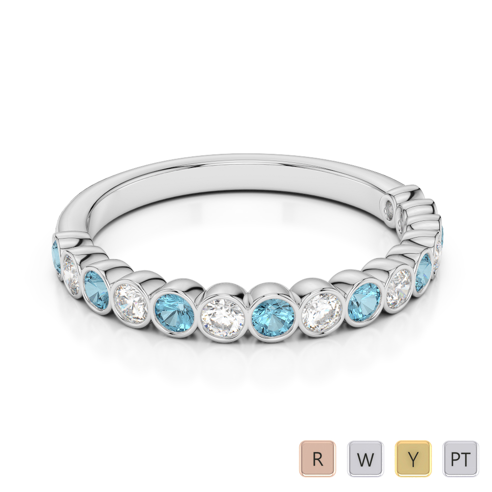 2.5 MM Gold / Platinum Round Cut Aquamarine and Diamond Half Eternity Ring AGDR-1102
