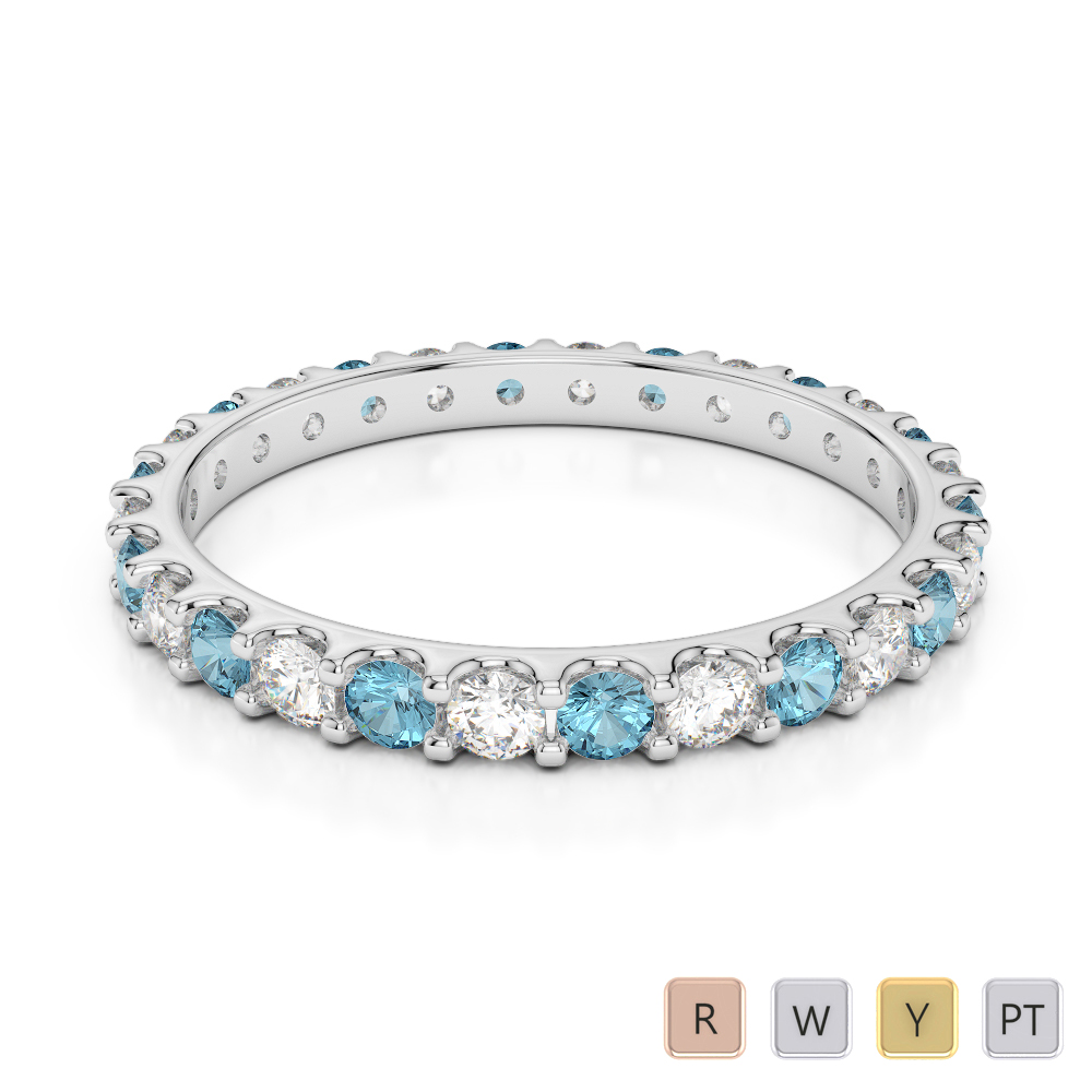 2 MM Gold / Platinum Round Cut Aquamarine and Diamond Full Eternity Ring AGDR-1104