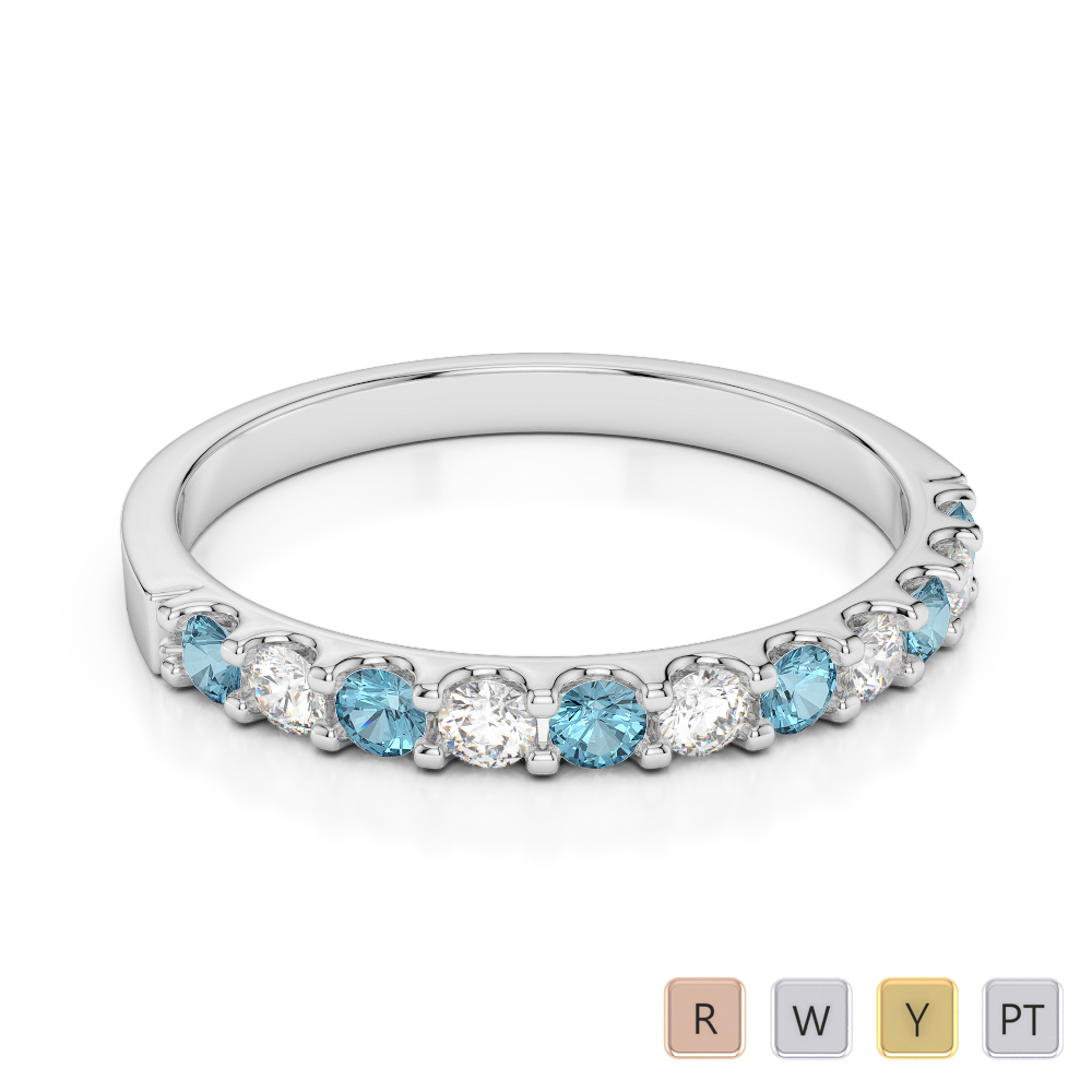 2 MM Gold / Platinum Round Cut Aquamarine and Diamond Half Eternity Ring AGDR-1107