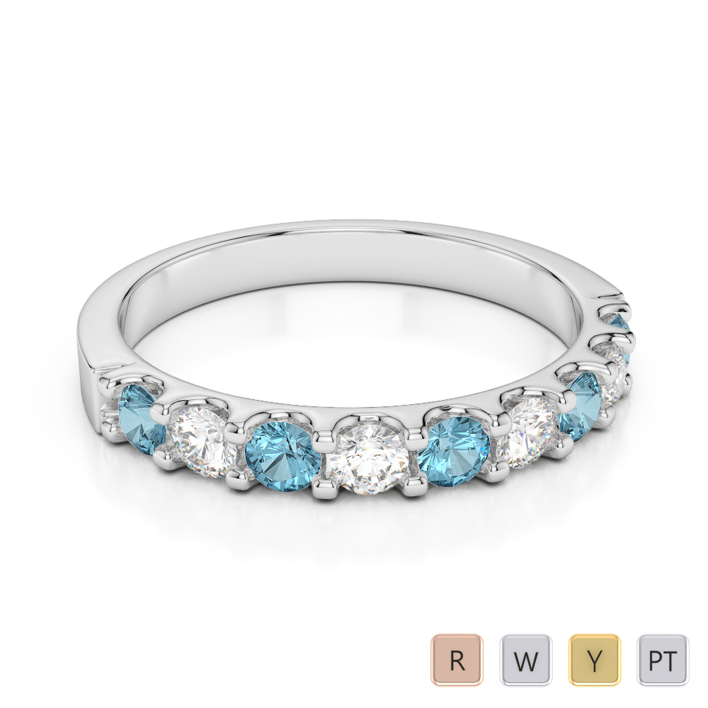 2.5 MM Gold / Platinum Round Cut Aquamarine and Diamond Half Eternity Ring AGDR-1108