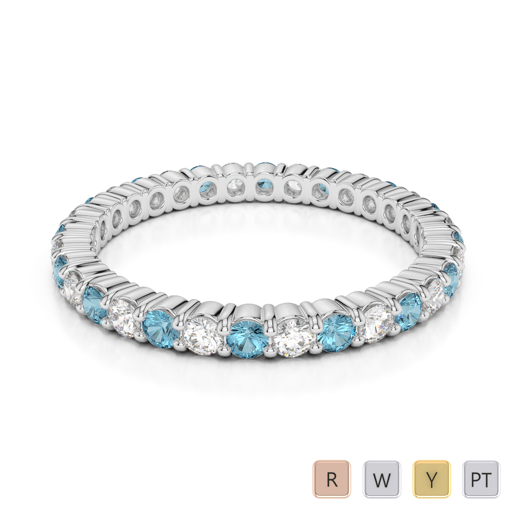 2 MM Gold / Platinum Round Cut Aquamarine and Diamond Full Eternity Ring AGDR-1110