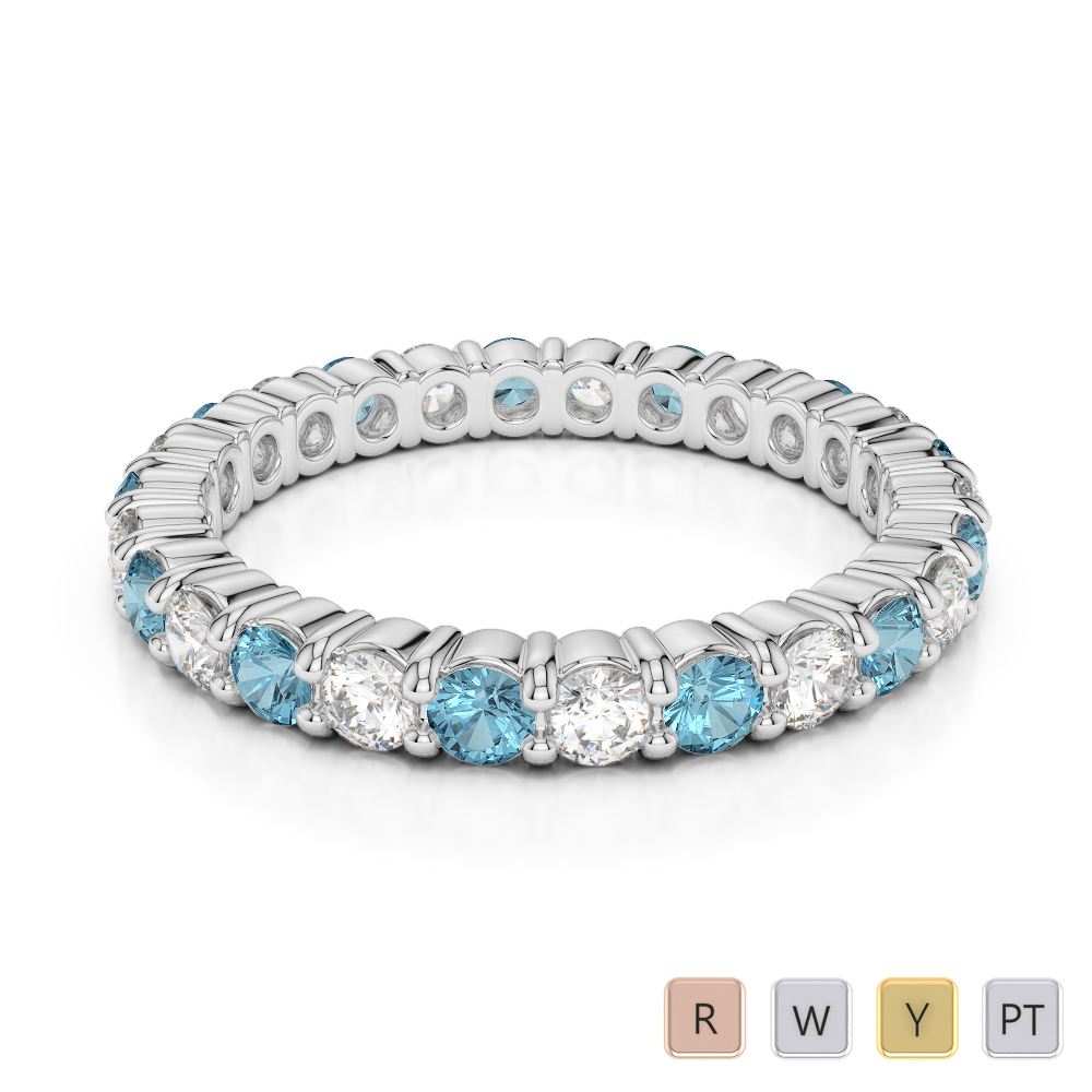 2.5 MM Gold / Platinum Round Cut Aquamarine and Diamond Full Eternity Ring AGDR-1111