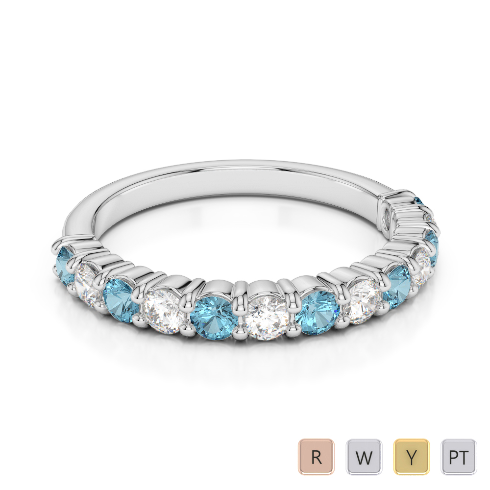 2.5 MM Gold / Platinum Round Cut Aquamarine and Diamond Half Eternity Ring AGDR-1114