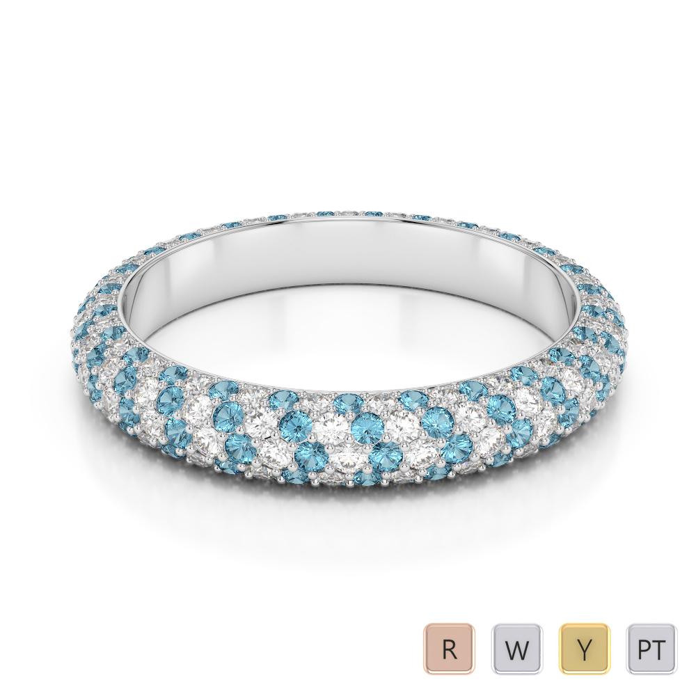 Gold / Platinum Round Cut Aquamarine and Diamond Full Eternity Ring AGDR-1116