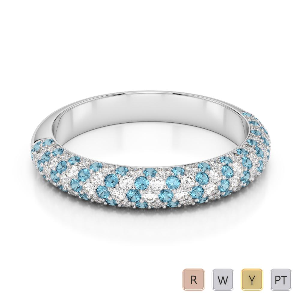 Gold / Platinum Round Cut Aquamarine and Diamond Half Eternity Ring AGDR-1118