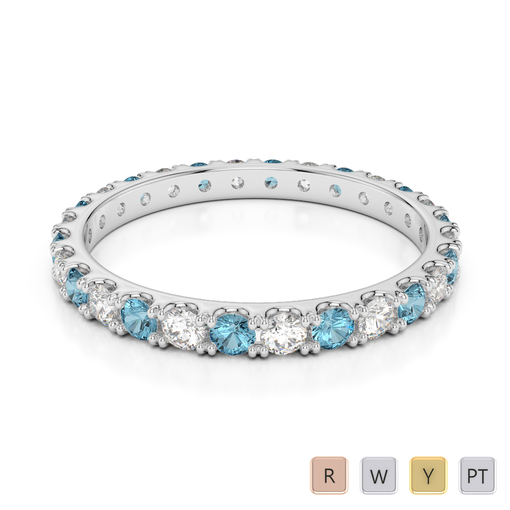 2 MM Gold / Platinum Round Cut Aquamarine and Diamond Full Eternity Ring AGDR-1120