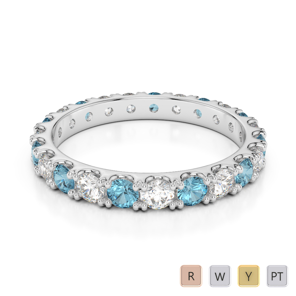 2.5 MM Gold / Platinum Round Cut Aquamarine and Diamond Full Eternity Ring AGDR-1121