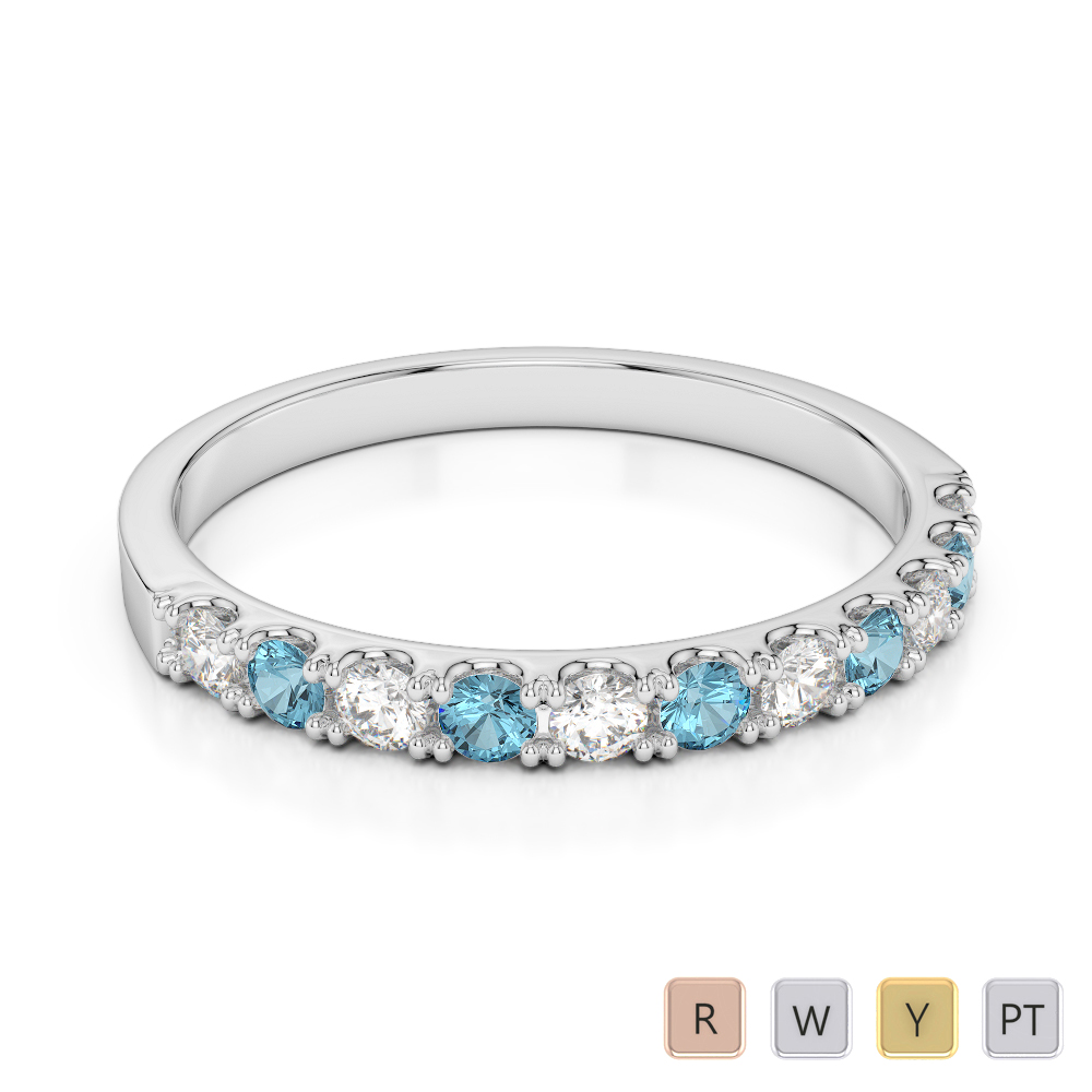 2 MM Gold / Platinum Round Cut Aquamarine and Diamond Half Eternity Ring AGDR-1123